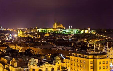 Night view of Prague from the Old Town Hall - Czech Republic