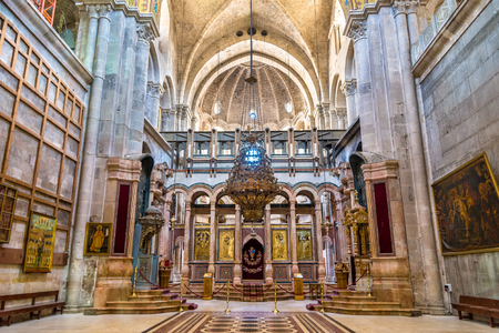 Interior of the Church of the Holy Sepulchre - Jerusalem, Israel Stock Photo