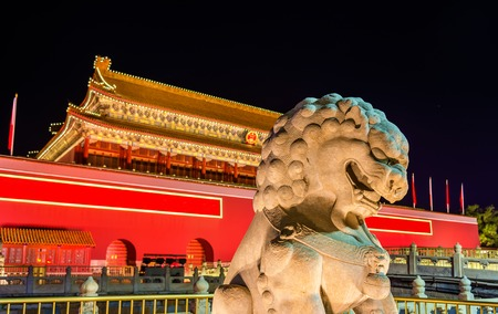 Lion in front of the Tiananmen Gate in Beijing, China