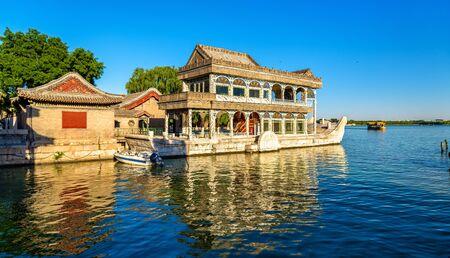 베이징, 중국의 여름 궁전에서 대리석 보트 스톡 콘텐츠