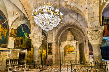 Interior of the Church of the Holy Sepulchre - Jerusalem, Israel Editorial