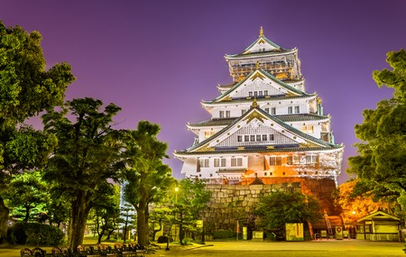 오사카 성 오사카의 야경 스톡 콘텐츠