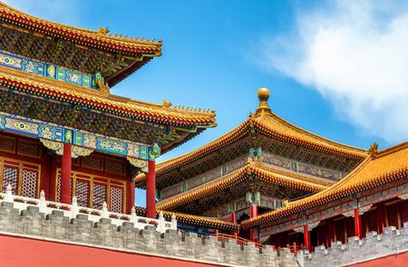 Porte méridienne du Musée du Palais ou de la Cité Interdite à Pékin, Chine Banque d'images - 84936313