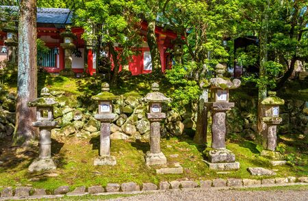 Stone lanterns at Tamukeyama Hachimangu Shrine in Nara, Japan