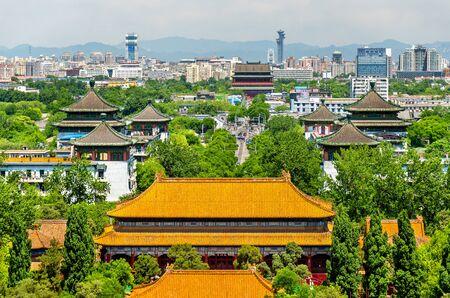 Jingshan 공원 - 베이징, 중국에서 Shouhuang 팰리스의 전망.