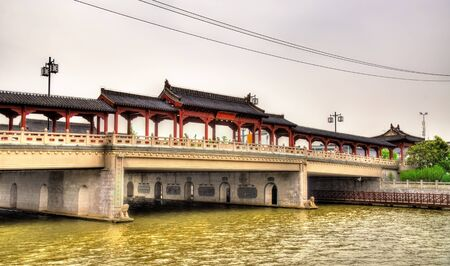 Traditional-style bridge abouve a canal in Suzhou, China Stock Photo