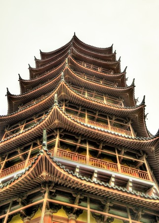 storey: The Beisi Pagoda at Baoen Temple in Suzhou, Jiangsu Province, China Stock Photo