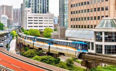 Tokyo Monorail at Tennozu Isle Station - Japan