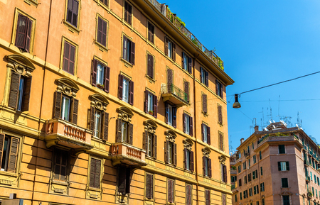 corner house: Buildings in the city centre of Rome - Italy