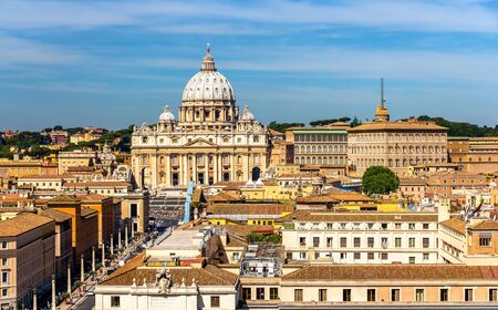 View of St. Peters Basilica in Rome, Italy Stock Photo