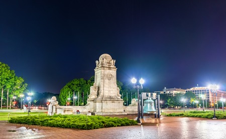Columbus Fountain in front of Union Station in Washington DC at night. United States