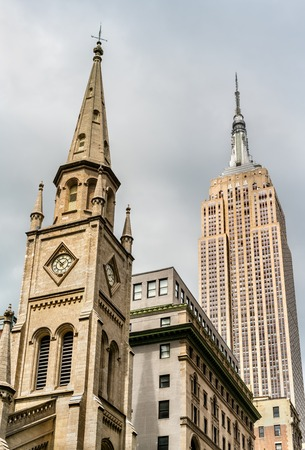 fifth avenue: Marble Collegiate Church and Empire State Building in New York City, United States