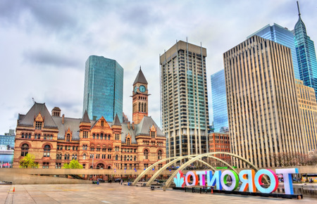 Nathan Phillips Square and Old City Hall in Toronto - Ontario, Canada