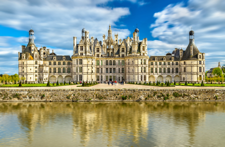 the loire: Chateau de Chambord, the largest castle in the Loire Valley. A UNESCO world heritage site in France