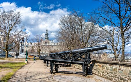 Old cannons in Montmorency Park of Quebec City, Canada Stock Photo