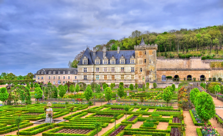 Chateau de Villandry, a castle in the Loire Valley of France 版權商用圖片