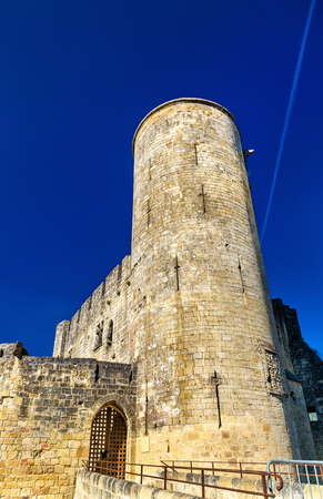 Chateau de Rauzan, a medieval castle in Gironde department of France Editorial