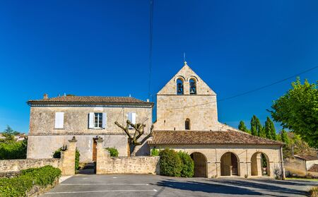 Church in Rauzan village, the Gironde department of France Stock Photo