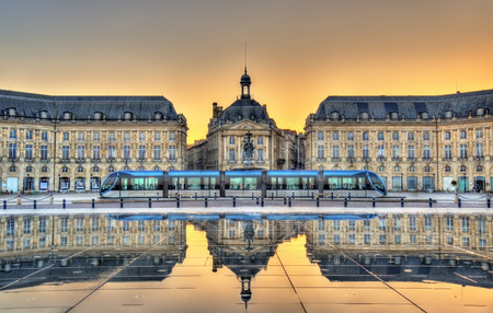 Place de la Bourse reflecting from the water mirror in Bordeaux - France, Gironde