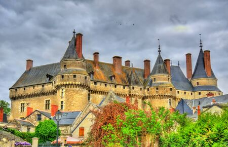 the loire: View of the Chateau de Langeais, a castle in the Loire Valley - France Stock Photo