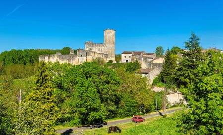 Chateau de Rauzan, a medieval castle in Gironde department of France Stock Photo