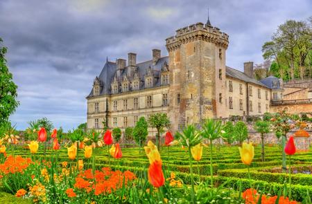 the loire: Chateau de Villandry, a castle in the Loire Valley of France Stock Photo