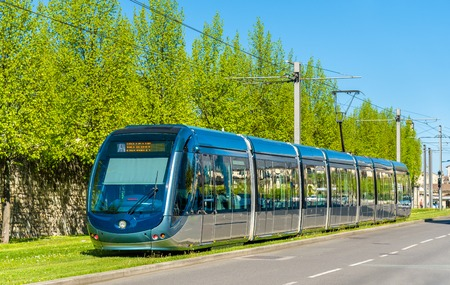 City tram on a street of Bordeaux - France, Gironde Stock Photo