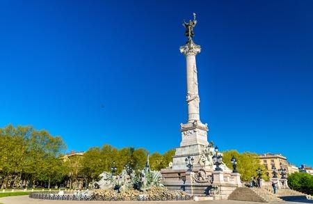 Monument aux Girondins on the Quinconces square in Bordeaux, France
