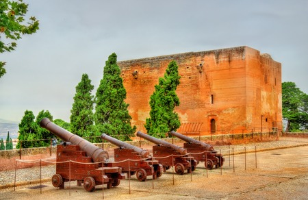 Cannons at Alhambra fortress in Granada - Spain Stock Photo