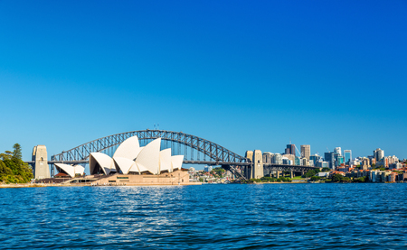 Sydney Opera House en Harbour Bridge - Australië, New South Wales Redactioneel