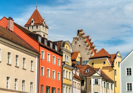 bayern old town: Buildings in the Old Town of Regensburg - Bavaria. UNESCO world heritage site in Germany
