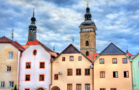 Buildings in the old town of Ceske Budejovice, Czech Republic.