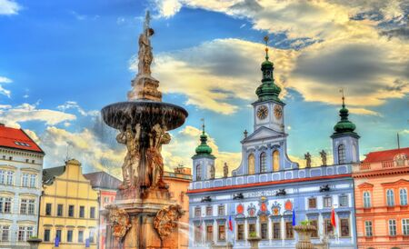 Samson Fountain in Ceske Budejovice Czech Republic Stok Fotoğraf