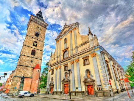 budejovice: Black Tower and St. Nicholas Cathedral in Ceske Budejovice, Czech Republic