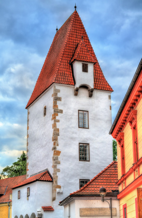 budejovice: Rabenstejnska vez, a tower in the old town of Ceske Budejovice, Czech Republic Stock Photo
