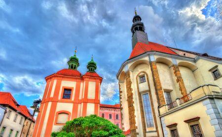 St. Nicholas Cathedral in Ceske Budejovice, Czech Republic Stock Photo