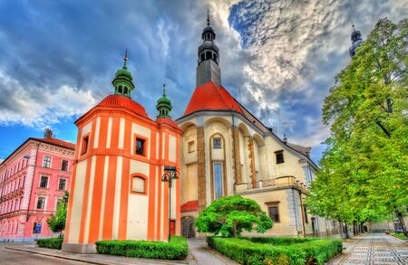 budejovice: St. Nicholas Cathedral in Ceske Budejovice, Czech Republic Stock Photo