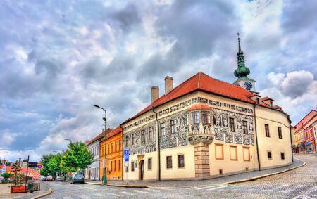Graffiti decorated house in Trebic, Czech Republic