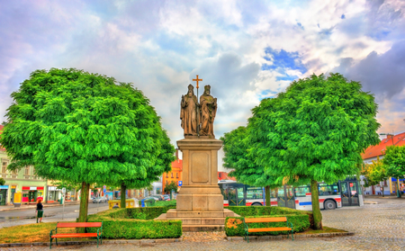 Statue of Saints Cyril and Methodius in Trebic, Czech Republic