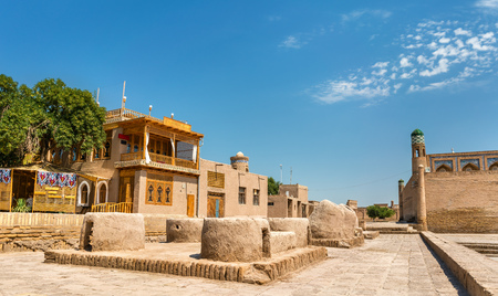 Historic buildings at Itchan Kala fortress in the historic center of Khiva.