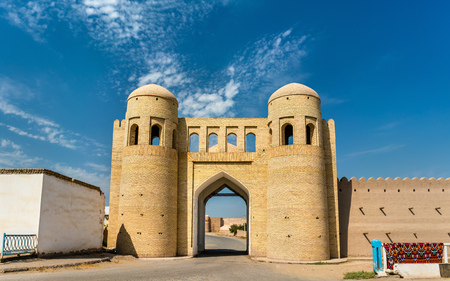 Entrance Gate in the ancient city wall of Ichan Kala. Khiva, Uzbekistan