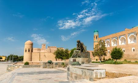 Statue of Al-Khwarizmi in front of Itchan Kala in Khiva, Uzbekistan