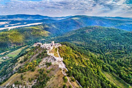 Aerial view of Cachticky hrad, a ruined castle in Slovakia