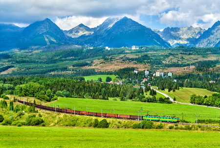 Freight train in the High Tatra Mountains, Slovakia
