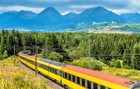 Passenger train in the High Tatra Mountains, Slovakia
