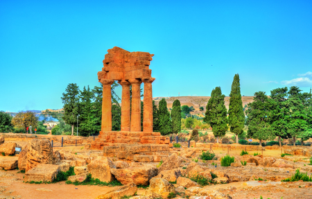 The Temple of Castor and Pollux at the Valley of the Temples in Agrigento - Sicily, Italy