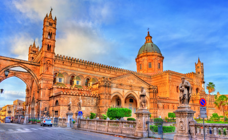 Palermo Cathedral,  in Sicily, Italy 스톡 콘텐츠