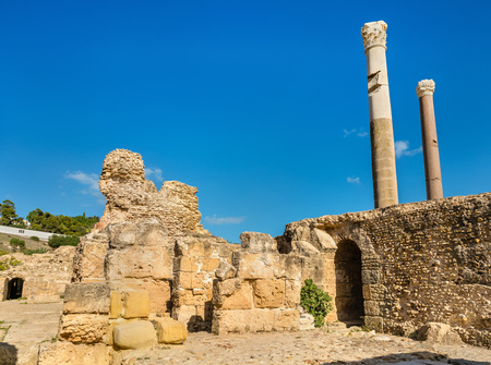 Ruins of the Baths of Antoninus in Carthage, Tunisia.
