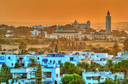 View of Sidi Bou Said and Carthage near Tunis, Tunisia Stock Photo