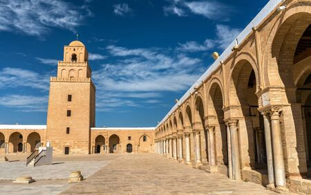 The Great Mosque of Kairouan in Tunisia 스톡 콘텐츠